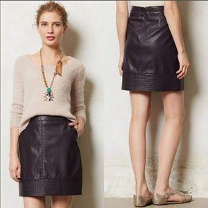 ANTHROPOLOGIE Plum Vegan Leather Mini Skirt